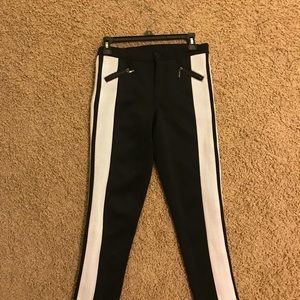 Pants - Black and white stripped pants